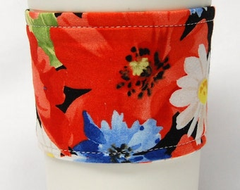 Coffee Cozy/Cup Sleeve Eco Friendly Slip-on, Teacher Appreciation, Co-Worker Gift, Bulk Discount: Poppies and Daisies