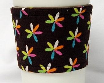 Coffee Cozy/Cup Sleeve, Eco-Friendly, Slip-on, Teacher Appreciation, Co-worker Gift, Bulk Discount: Six Petal Flowers on Brown