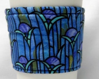 Coffee Cozy/Cup Sleeve Eco Friendly Slip-on, Teacher Appreciation, Co-Worker Gift, Bulk Discount: Blue and Purple Stained Glass Floral