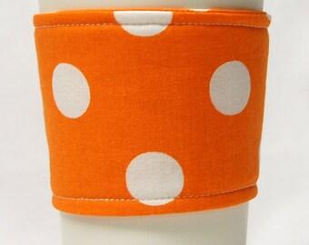 Coffee Cozy/Cup Sleeve Eco Friendly Slip-on, Teacher Appreciation, Co-Worker Gift, Bulk Discount: Orange with White Polka Dots