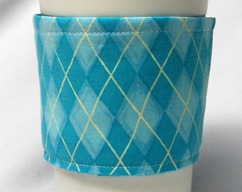 Coffee Cozy/Cup Sleeve, Eco Friendly, Slip-on, Teacher Appreciation, Co-Worker Gift, Bulk Discount:  Teal Argyle