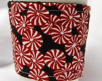 Coffee Cozy/Cup Sleeve, Eco Friendly, Slip-on, Teacher Appreciation, Co-Worker Gift, Bulk Discount: Peppermints on Black