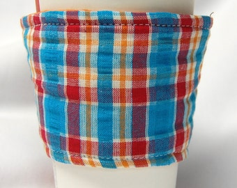 Coffee Cozy, Cup Sleeve, Eco Friendly, Slip-on, Teacher Appreciation, Co-Worker Gift, Bulk Discount: Blue, Red, Orange and White Plaid