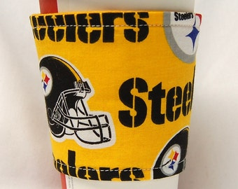 Coffee Cozy/ Cup Sleeve Eco Friendly Slip-on, Teacher Appreciation, Co-Worker Gift, Bulk Discount: Pittsburg Steelers