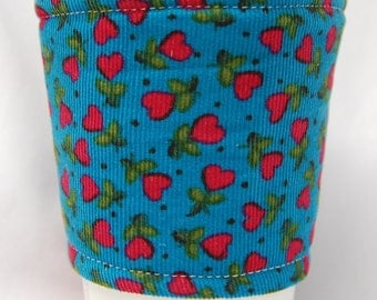 Coffee Cozy/Cup Sleeve Eco Friendly Slip-on, Teacher Appreciation, Co-Worker Gift, Bulk Discount: Corduroy Tiny Red Hearts on Teal