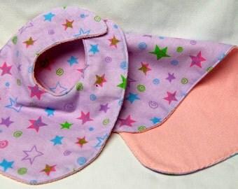 Baby Girl Bib and Burp Cloth Set, Baby Shower Gift, Welcome Baby Gift: Stars and Swirls on Purple