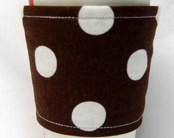 Coffee Cozy, Cup Sleeve, Eco Friendly, Slip-on: Large White Polka Dot on Brown