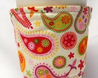 Coffee Cozy/Cup Sleeve Eco Friendly Slip-on: Paisley on Cream