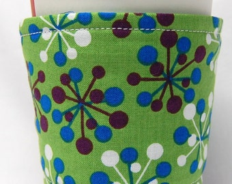 Coffee Cozy, Cup Sleeve, Eco Friendly, Slip-on,  Teacher Appreciation, Co-Worker Gift, Bulk Discount: Purple, Blue and White Jacks on Green
