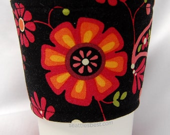 Coffee Cozy/Cup Sleeve Eco Friendly Slip-on, Teacher Appreciation, Co-Worker Gift: Pink, Orange, Yellow Flowers/Paisley on Black