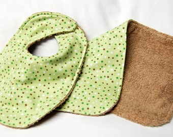 Bib and Burp Cloth Set, Baby Shower Gift, Welcome Baby Gift:  Green, White and Brown Polka Dots On Green