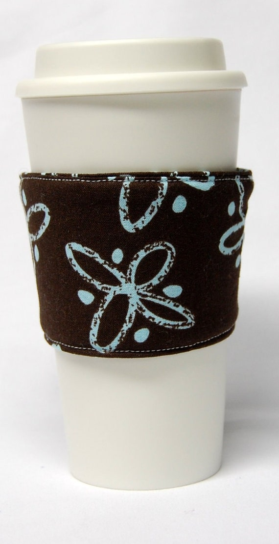 Coffee Cozy/Cup Sleeve Eco Friendly Slip-on, Teacher Appreciation, Co-Worker Gift: Light Blue and Brown