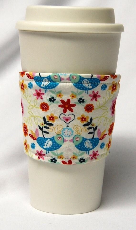 Cup Sleeve/Coffee Cozy  Eco Friendly Slip-on: Blue Love Birds on Cream- Ready to Ship