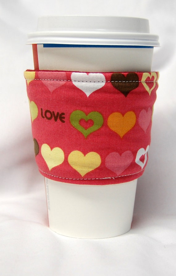 Valentine's Day - Coffee Cozy/Cup Sleeve Eco Friendly Slip-on, Teacher Appreciation, Co-Worker Gift: Green, Yellow, Pink Hearts