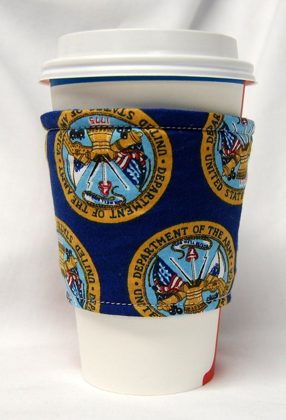Coffee Cozy/Cup Sleeve Eco Friendly Slip-on, Teacher Appreciation, Co-Worker Gift: U.S. Army Seal