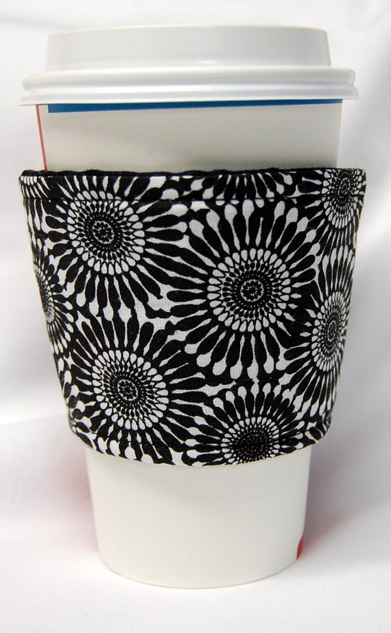Coffee Cozy/Cup Sleeve Eco Friendly Slip-on, Teacher Appreciation, Co-Worker Gift: Black and White Pinwheels