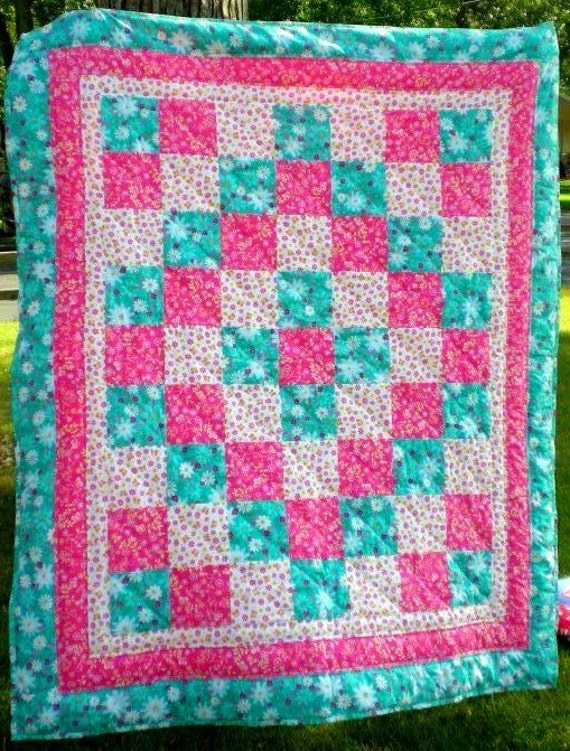 Junior Quilt and Doll Blanket Set Summer Flower - Ready to Ship