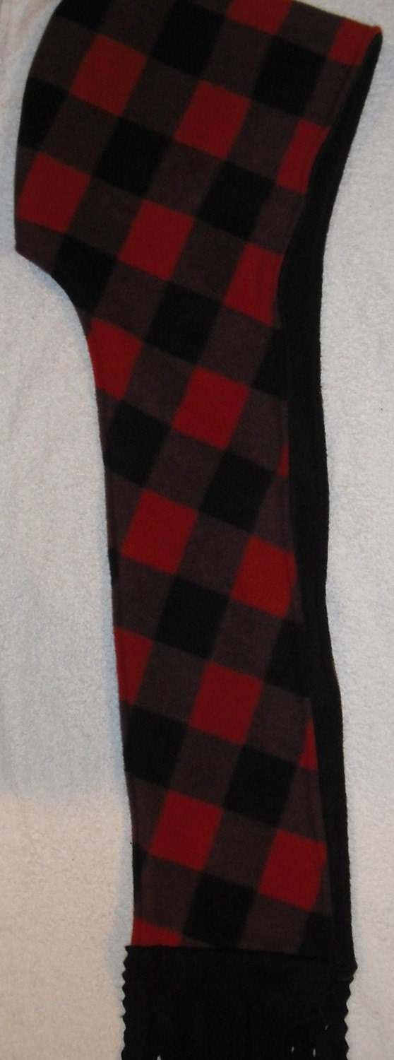 red and black plaid double thick anti pill fleece scoodie. Black Bedroom Furniture Sets. Home Design Ideas