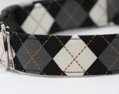 Grey Argyle - Custom Dog Collar