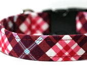 Red Plaid Dog Collar, Tartan Collar - Red Raspberry Plaid