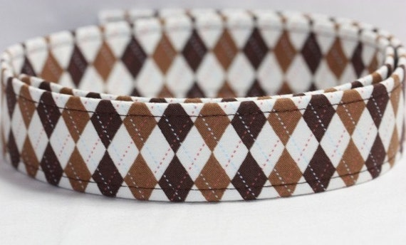 Custom Dog Collar - Hooty Argyle Brown