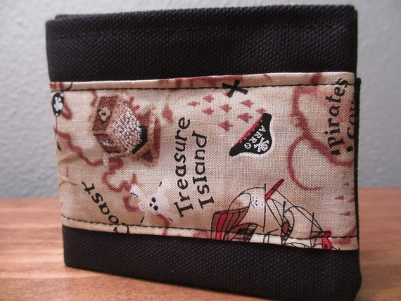 Handmade Cloth Wallet - Black Canvas with Pirate Treasure Map Patch