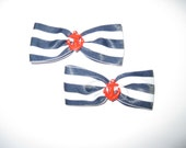 sailor anchor hair bows set of 2 rockabilly