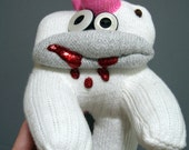 Toeshiba-- A Sock Zombie Doll with a Pink Flowery Toehawk