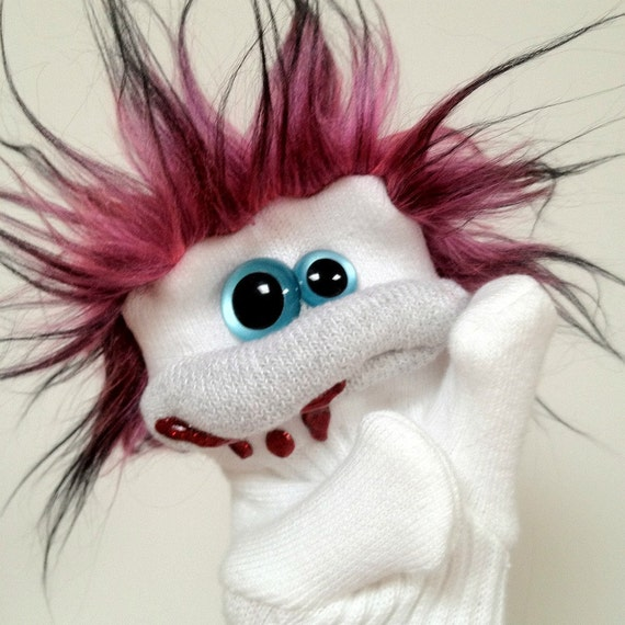 Deborah the Trophy Wife - A Sock Zombie Puppet with Pink Hair and Aqua Eyes