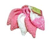 Knit Cotton Leaf Scrubbies Pink White