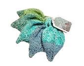 Knit Cotton Leaf Scrubbies Aqua Teal Blue Green