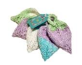 Knit Cotton Leaf Scrubbies Aqua Purple Green