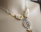 SALE- Sweetest embrace  necklace - White fresh water pearls ,citrine,peridot, Lemon quartz briolette