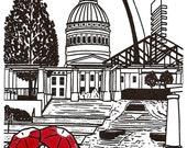 St. Louis Love gocco art print