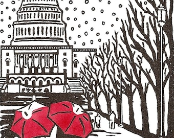 Washington, DC Love- winter gocco art print