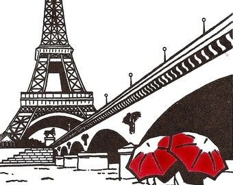 Paris Love gocco art print- Eiffel Tower