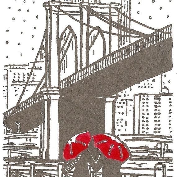 New York Love gocco art print- Brooklyn Bridge- Gray