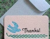 Set of 10 Letterpress Mini Thank You Notes and Envelopes - Bluebird