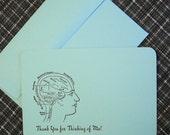 Letterpress Thank You Cards and Envelopes - Set of Four - Brain Diagram - Aquamarine