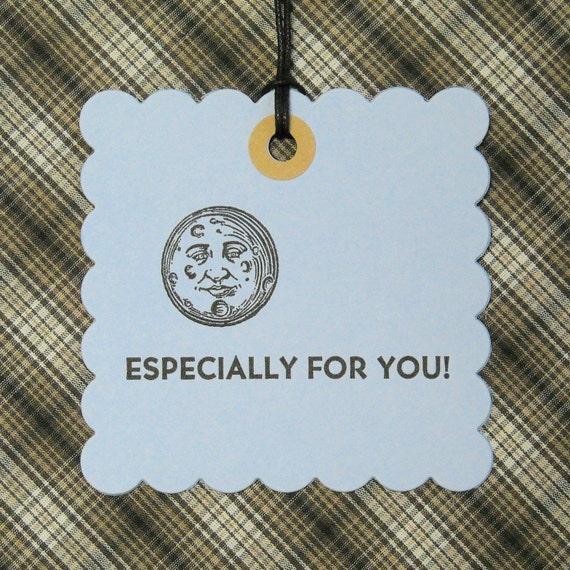 Letterpress Hang Tags - Letterpress Gift Tags - Set of Ten - Man on the Moon