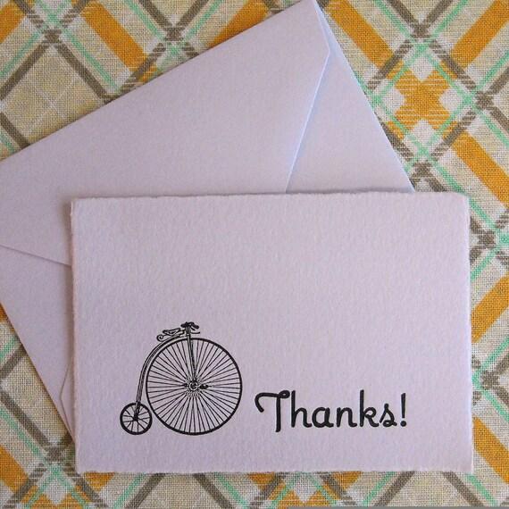 Letterpress Thank You Cards and Envelopes - Set of Ten Mini Cards - Penny Farthing Bike - Lavender
