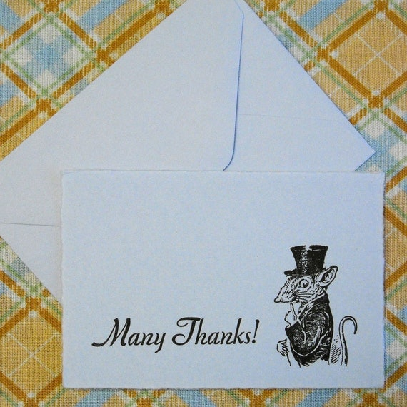 Letterpress Thank You Cards and Envelopes - Set of Ten Mini Cards - Rat in a Top Hat - Pale Blue