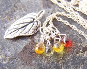 100% Donated to FCF - Autumn Leaves - Sapphire Briolettes and Sterling Silver Leaf Pendant Interchangeable Necklace