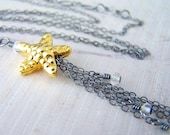 Sale - 24K Gold Vermeil Karen Hill Tribe Starfish and Black Oxidized Sterling Silver Necklace