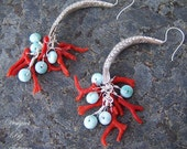 Sale - One Fish, Two Fish….  Red Italian Coral Branch, Larimar and Karen Hill Tribe Silver Fish Earrings