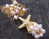 Sale - Creamy White Freshwater Pearls 24K Gold Vermeil Karen Hill Tribe Starfish Necklace