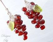 Vineyard - Garnet and Peridot Carved Leaf Briolette Sterling Silver Earrings