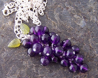 Sale - Concord - Amethyst and Vesuvianite Carved Leaf Briolette Sterling Silver Necklace