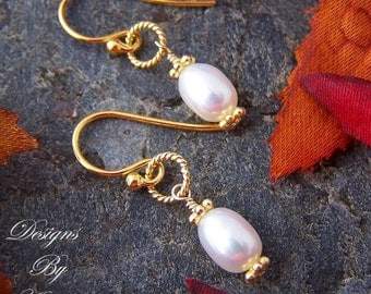 Sale - Creamy White Freshwater Pearl 14K GF and 24K Gold Vermeil Earrings