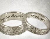 fingerprint wedding rings -set of 2 sterling allover fingerprint rings, handwritten inscription,  5mm, 8mm